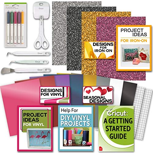 Cricut Tools Bundle Beginner Cricut Guide, Vinyl Pack, Basic Tools and Cricut Explore Fine Point Pens