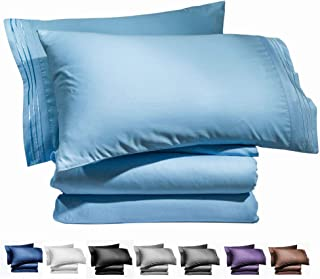 AiAngu Bed Sheet Set - Brushed Microfiber 1800 Bedding - 16-Inch Deep Pocket Wrinkle, Fade, Stain Resistant - Hypoallergenic - 4 Piece (Lake Blue, Queen)