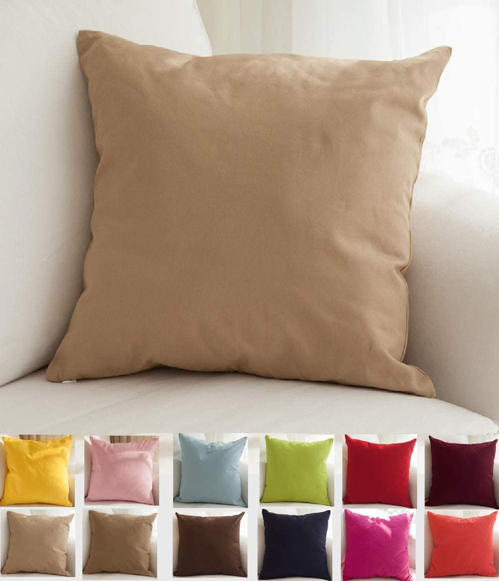 TangDepot Cotton Solid Throw Recommended Pillow Khaki Award 22