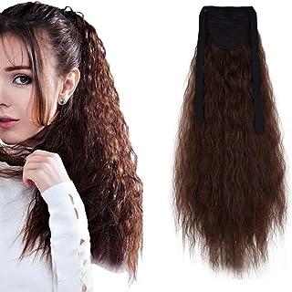 "iLUU Tie up Bingding Ponytail Clip in Synthetic Hair Extension One Piece Wrap Around Pony Tail Hairpiece 22"" 90g #33J Aubu..."