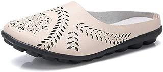 Leather Sandals Women Flat Sandals Summer Shoes Closed Toe Cut-Out Leather Flip Flops Slipper Slides Shoes Woman