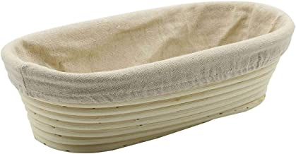 Stormshopping 11.8 inch Oval Long Banneton Brotform Bread Dough Proofing Rising Rattan Basket & Liner