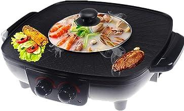 HJSGXXN Barbecue De Table Électrique,Grills Électriques,Barbecue Pot Chaud Double Pot,coréen Thaï Marmite Une Pièce,Plaque...