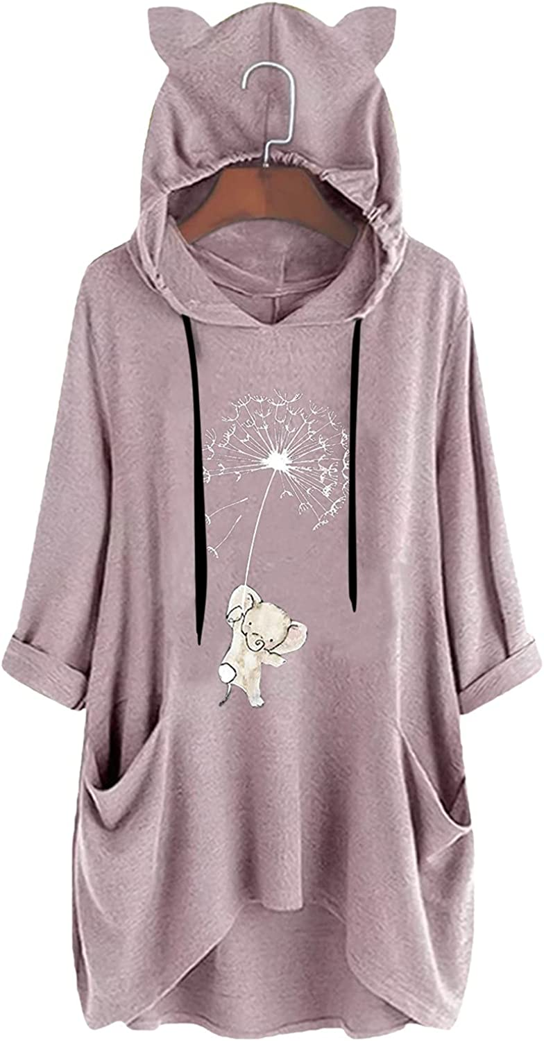Pandaie Cat Ear Pullove for Women Loose Fit Comfy Soft Dressy Long Sleeve Tops Casual Print Blouse Shirt with Pocket