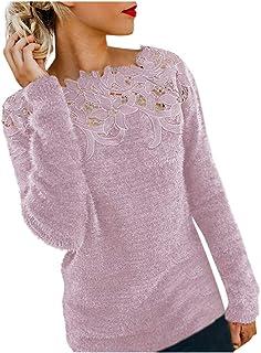 Aiserkly suéter de Manga Larga para Mujer con diseño Floral y Hueco, Sudadera de Punto