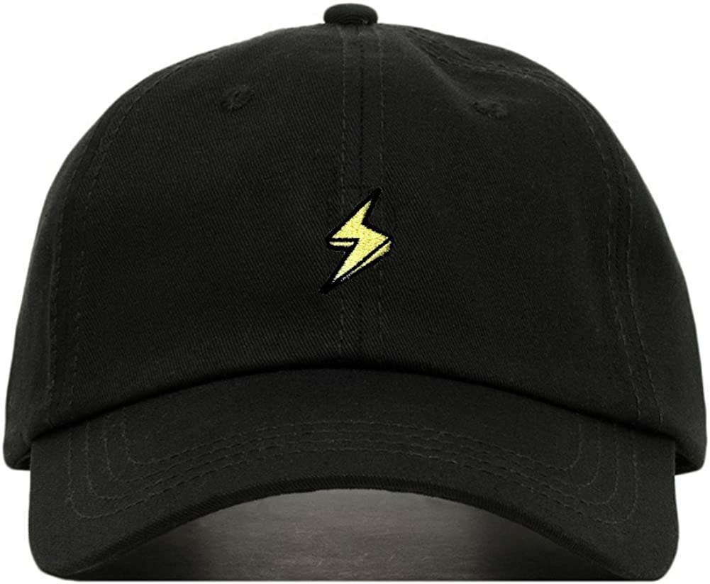 Lightning Bolt Baseball Hat, Embroidered Dad Cap, Unstructured Soft Cotton, Adjustable Strap Back (Multiple Colors)