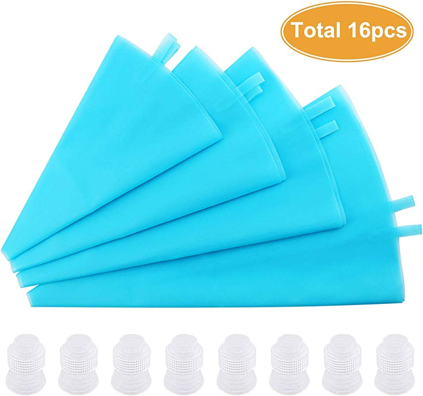 DLOnline 8 Pcs Silicone Pastry Bags With 8 Icing Couplers 4 Sizes Reusable Icing Piping Bags Baking Cookie Cake Decorating Bags For Cupcake Decorating 10 12 14 16 Decorating Icing