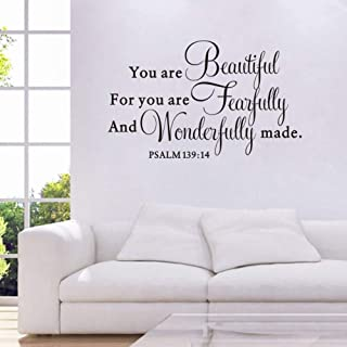 TOARTi You are Beautiful for You are Fearfully and Wonderfully Make Quote Wall Decal, Living Room Prayer Sticker, Inspirational Typography Bless Decal Home Decoration