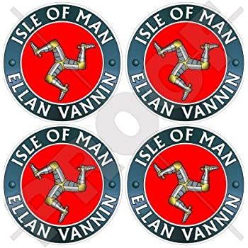 ISLE of MAN /Île de Man TT Courses Royaume-Uni MANX Triskellion x2 Stickers 75mm Vinyle Autocollants