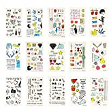 Xcellent Global Temporary Tattoos 15 Sheets Animals,Butterflies,Flowers,Hearts for Girls'Necklace,Bracelets,Arm Band and Ankle BT013