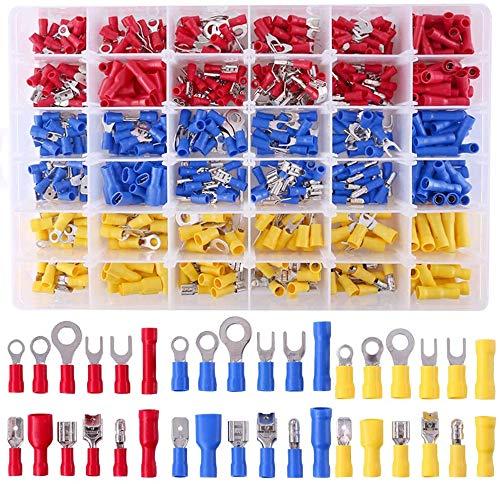 Kabelschuhe Set 540 tlg, Kabelschuhe Quetschverbinder Sortiment, enthält Ringkabelschuhe, Rundstecker, Rundsteckhülsen, Flachstecker, Flachsteckhülsen, Stoßverbinder und Gabelkabelschuhe