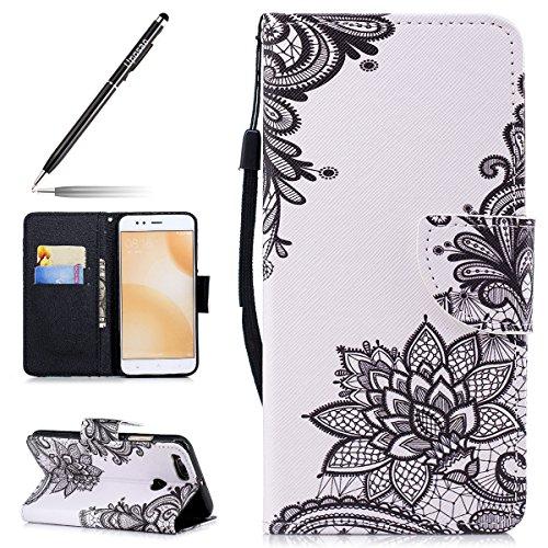 Uposao Handyhülle für Xiaomi 5X/Xiaomi Mi A1, Leder Tasche Schutzhülle Brieftasche Handytasche Ledertasche Lederhülle für Xiaomi 5X/Xiaomi Mi A1, Bunt Vintage Blumen Muster Klapphülle mit Lanyard Str
