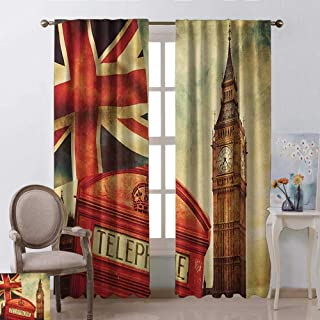 GUUVOR London Shading Insulated Curtain Vintage Style Symbols of London with National Flag UK Great Britain Old Clock Tower Soundproof Shade W42 x L63 Inch Multicolor
