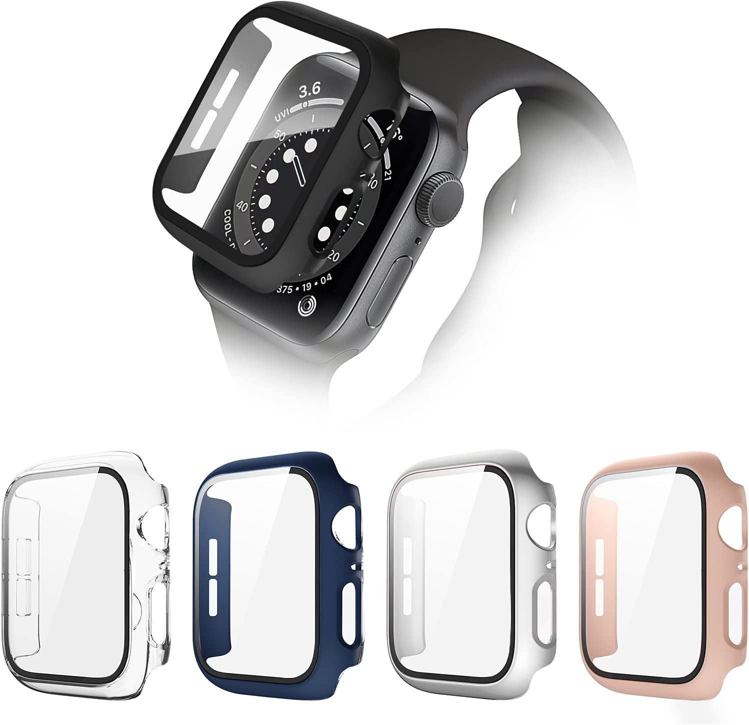 POHNUI OFFicial store 4 Pack Hard PC Brand new Case Apple Compatible with Watch Series SE