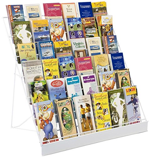6-Tier Wire Countertop Rack for Literature, Open Shelving Accommodates a Variety of Items, Small Sign Channel - White