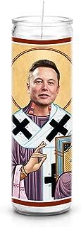 Celebrity Prayer Candles Elon Musk Funny Saint Candle - 8 inch Glass Prayer Votive - 100% Handmade in USA - Novelty Celebrity Gift
