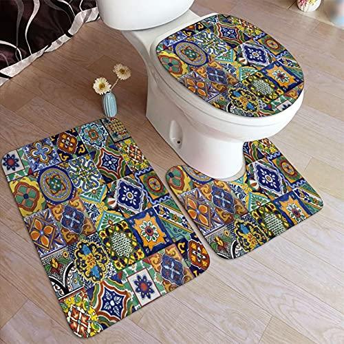 RUBEITA Juego de Alfombrillas baño 3 Piezas,Azulejos Mexicanos Art1,Juego de alfombras, Alfombra de baño Antideslizante,Alfombrilla de Contorno,alfombras para Cubrir la Tapa del Inodoro