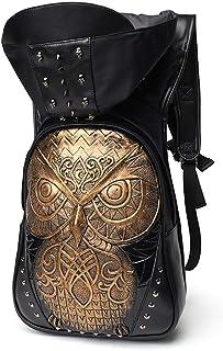 Embossed 3D Owl Leather Backpack Men's Backpack Casual Computer Bag Hooded 3D Backpack