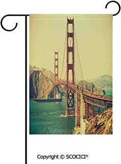 SCOCICI Double Sided Washable Customized Unique 12×18(in) Garden Flag Old Film Featured Golden Gate Bridge Suspension Urban Path Construction Scenery,Blue Brown,Flag Pole NOT Included