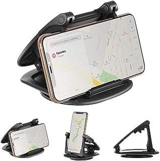 Emmabin スマホ車載ホルダー クリップ式 360°回転可能 横置・縦置 スマホスタンド 滑り止めシリコンパッド 3M 超安定 適用 iPhone Android 6.5インチまで多機種対応 ブラック 【12ヶ月安心保障】