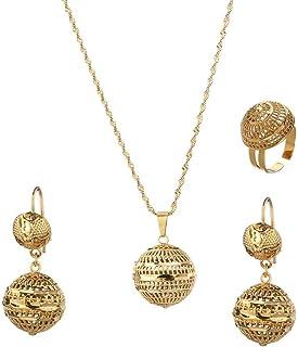 QAZQAZ - Collana con ciondolo a forma di perline africane alla moda, orecchini e anelli rotondi