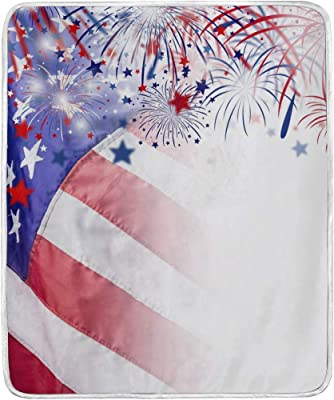 American Flag Soft Warm Throw Blankets Lightweight Velvet Short Plush Microfiber Blanket for Bed Couch Chair Sofa Travelling Camping 50'' x 60''