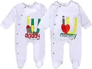 Unisex-Baby Newborn Footie Long Romper I Love Mummy I Love Daddy Bodysuit 2 Pack