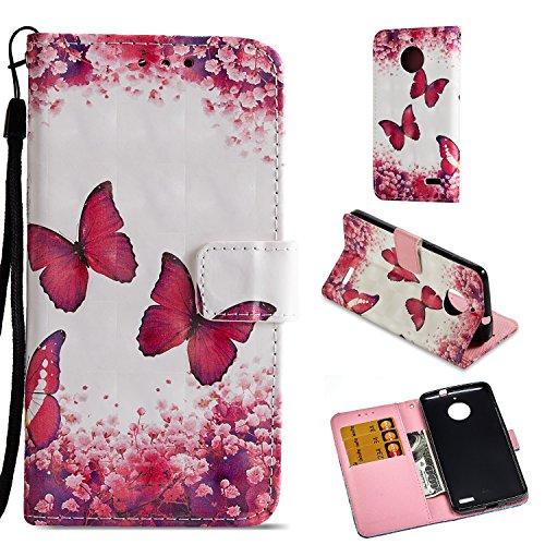 Funluna Motorola Moto E4 Hülle, Flip Handy Stoßfest Lederhülle Brieftasche, Trageschlaufe, Kartenfächer, Magnetverschluss Handytasche für Motorola Moto E4 - Rosen-Schmetterling