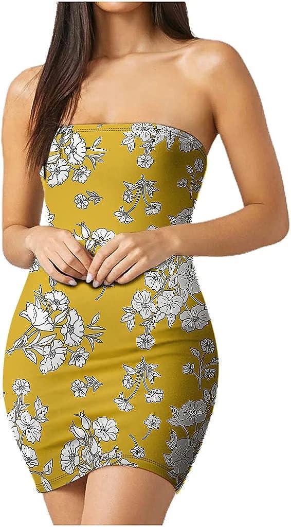 Shire Terry Plant Flowerswomen Basic Summer Bodycon Tube Top Strapless Party Mini Dress