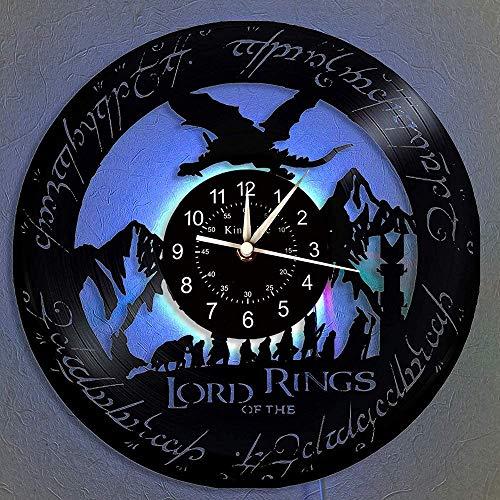 Horloge murale en vinyle, seigneur des anneaux LED 7 Lampe Couleur Nuit Rétro Horloge murale, salon, chambre enfants, cuisine, cadeaux uniques faits à la main Accueil Décoration murale,With light