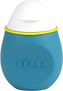 BEABA BabySqueez – Soft Reusable, Portable and Refillable Silicone Food Pouch - Great for Purees, Smoothies, and Snacks - Includes 2 Different Spouts for 2 Stages – Holds 6 oz (Peacock)