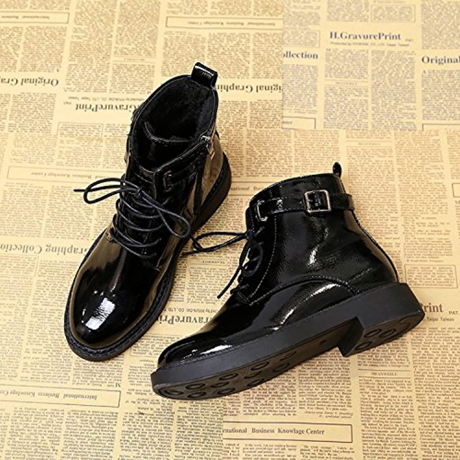 WYMBS Women's shoes Patent Leather Glossy Keep Warm Flat Student Martin Boots,Black,37