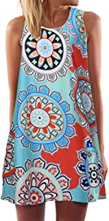 KMG Kimloog Women's O-Neck Boho Sleeveless Summer Beach Sundress Floral Printed Casual T-Shirt Short Mini Dress