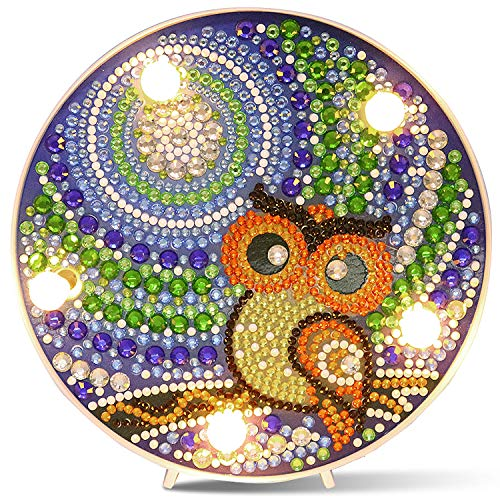 STEVOY Owl Gem Diamond Painting Kit for Kids, with Frame & LED Lamp - Arts and Crafts Night Light for Child Ages 6-12, Easy 5D Painting by Number Kits DIY Mosaic Home Decor Set - Gift for Children