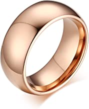 JTY Glory Men's and Women's 8 mm Tungsten Carbide Gold Rose Gold Steel Ring 18 K Gold Plated hemispherical Polished Finish Wedding Engagement Ring (Rose, 7)