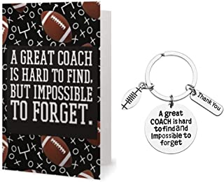 Sportybella Football Coach Keychain and Card Gift Set, Football Coach Gifts, Great Coach is Hard to Find But Impossible to Forget Keychain