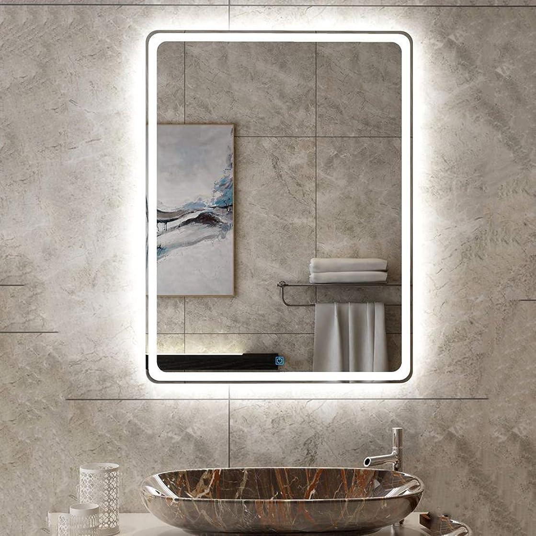 独裁者槍ペルーLEDライトバスルームミラー-壁掛け照明ミラータッチボタン+防曇機能+調整可能な白色光/暖光、垂直サスペンション(32インチ×24インチ)