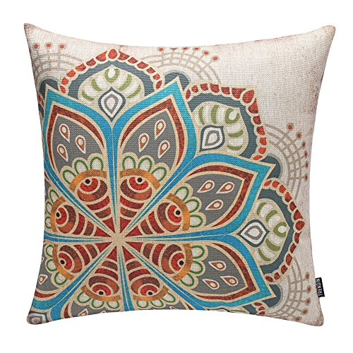 Multicolored Geometric Flower Toss Pillow Cover