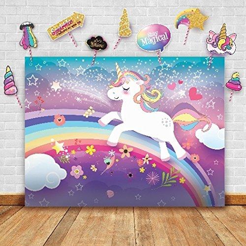 Fotografía telón con Diseño de Unicornio Brillante y Estudio Puntales. Ideal como fondo Pantalla de fotomatón, suministros de fiesta de cumpleaños y decoración mesa de princesa rosa para baby shower