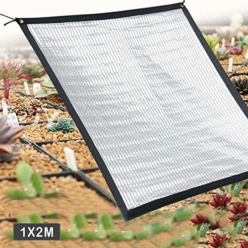 Qihang - Red para sombrilla, lámina reflectante de aluminio, color negro anti-ultravioleta, de alta calidad, para jardín, para flores, plantas, terraza, césped, etc., color blanco, tamaño 1*2M