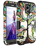 SKYLMW Case for Galaxy S5,Galaxy S5 Case [Shock Resistant Series ] Hybrid Rubber Cover for Galaxy S5 3in1 Hard Plastic +Soft Silicone, Tree Black
