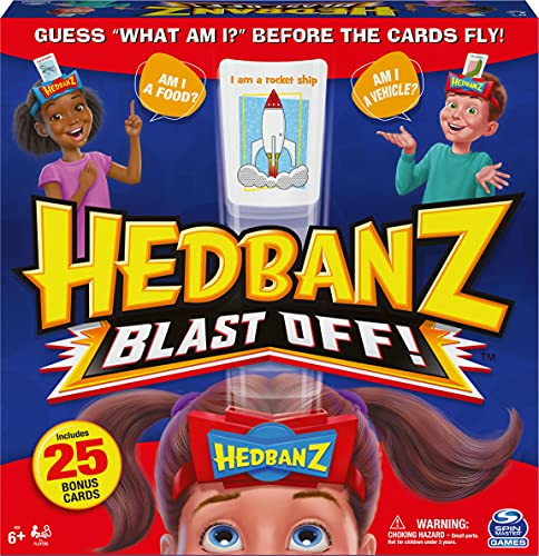 Hedbanz Blast Off! Guessing Game with 25 Bonus Cards, for Kids and Families Ages 6 and up (Amazon Exclusive)