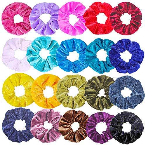 Haquno 20 Stück Samt Haargummis Velvet Scrunchies für Mädchen, Blunte Dicke Koreanische Haar Scrunchies Set für Frisur mit Aufbewahrungstasche
