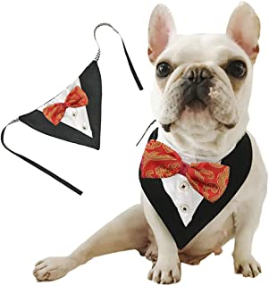 ANIAC Formal Dog Tuxedo Bandanas with Bow Tie Pet Costume Tail Collar Adjustable Neck Accessories Party Suit Wedding Neckwear Scarf for cat and Dogs