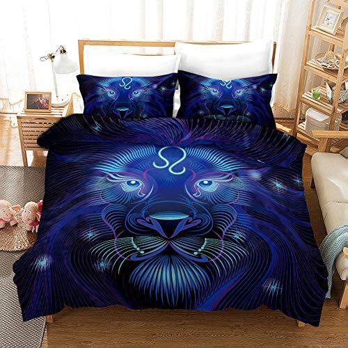 QXbecky 3D 12 Konstellation Sternen-Serie Bettwäsche Bettbezug Kissenbezug 3-teiliges Set weich und glatt einzigen Doppelkönig 259x229cm