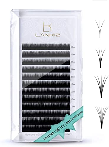 LANKIZ Volume Eyelash Extensions Individual Lashes 0.07mm CC Curl 8-15mm Mixed Easy Fan Volume Lashes Rapid Blooming ...