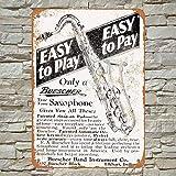 RTOUTS Buescher Saxophones Metal Retro Tin Sign Antique Plaque Poster Living Room Bar Pub Home Vintage Aluminum for Wall Decor 8x12 Inch