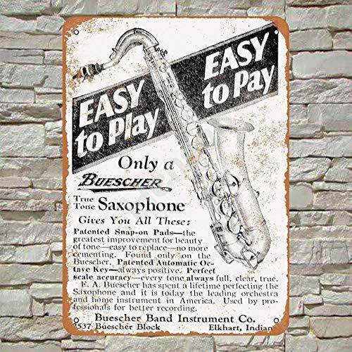 Retro-Blechschild von RTOUTS Buescher Saxophonen, antikes Plakat, für Wohnzimmer, Bar, Kneipe, Zuhause, Vintage, Aluminium, für Wanddekoration, 20,3 x 30,5 cm