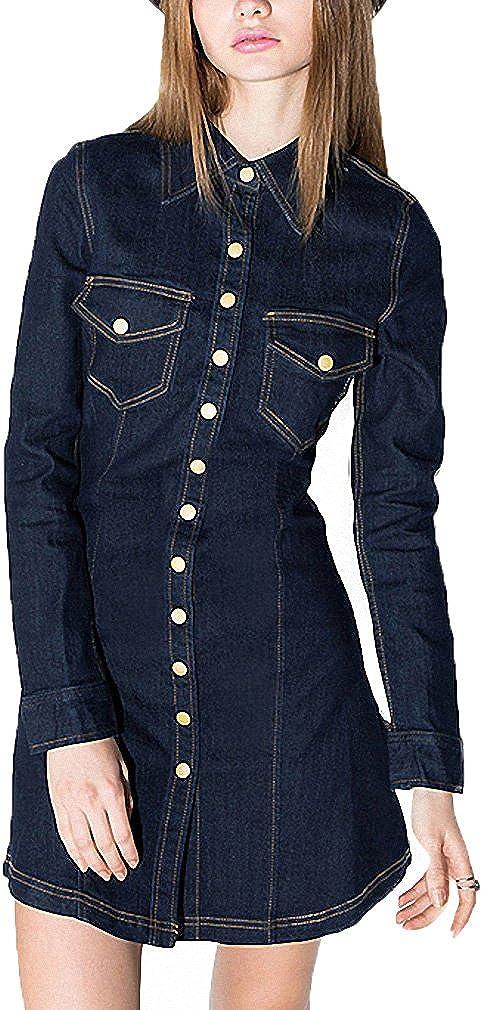 Womens Vintage Slim Denim Ling Sleeve Mini Dress Pockets Fashion Lady Short Dresses