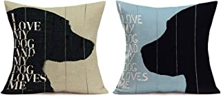 Xihomeli Set of 2 Dogs Pillow Cover Wood Background with I Love My Dog and My Dog Loves ME Sweet Words Pillows Decorative Throw Pillows Cotton Linen Cushion Cover 18 x 18 Inches (2 Pack Dog)